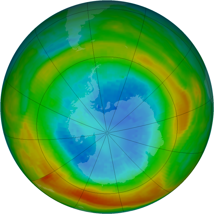 Antarctic ozone map for 11 September 1980