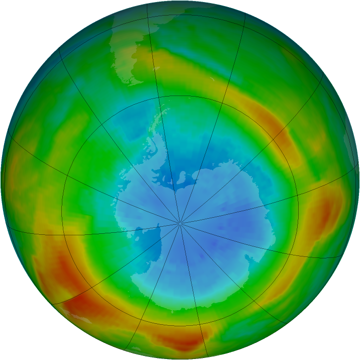 Antarctic ozone map for 14 September 1980