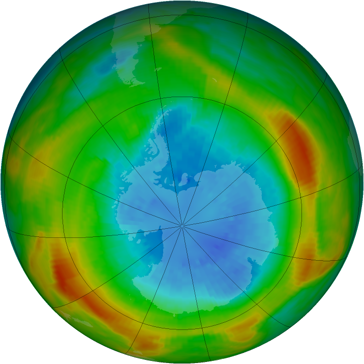 Antarctic ozone map for 15 September 1980
