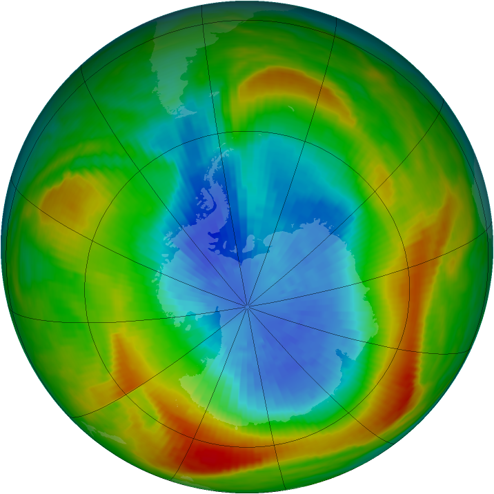Antarctic ozone map for 21 September 1980