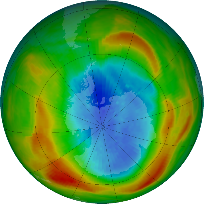 Antarctic ozone map for 22 September 1980