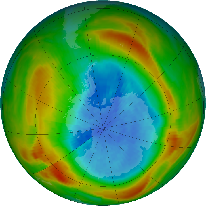 Antarctic ozone map for 23 September 1980