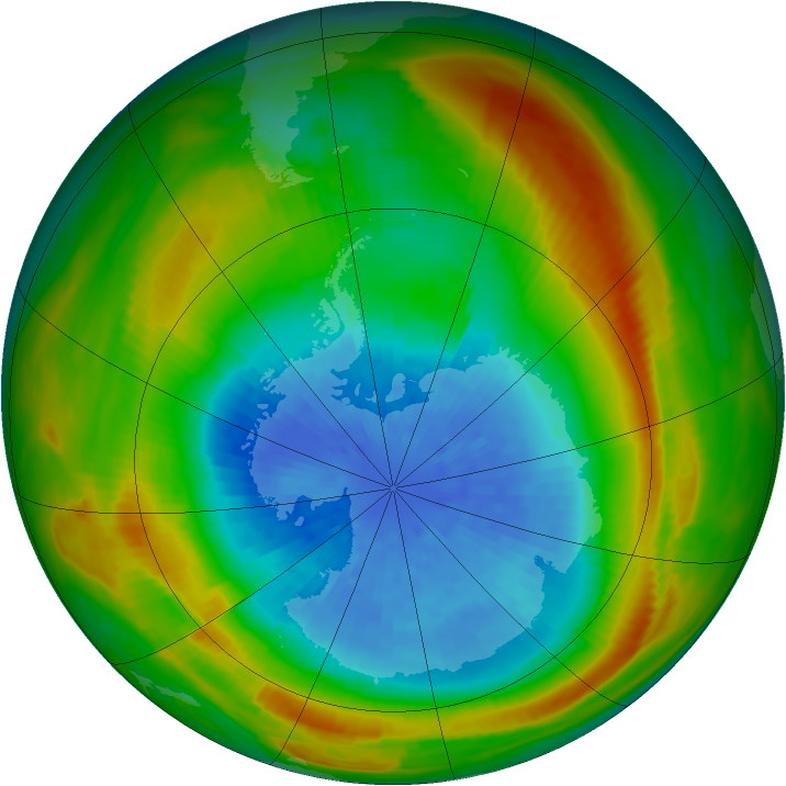 Antarctic ozone map for 25 September 1980