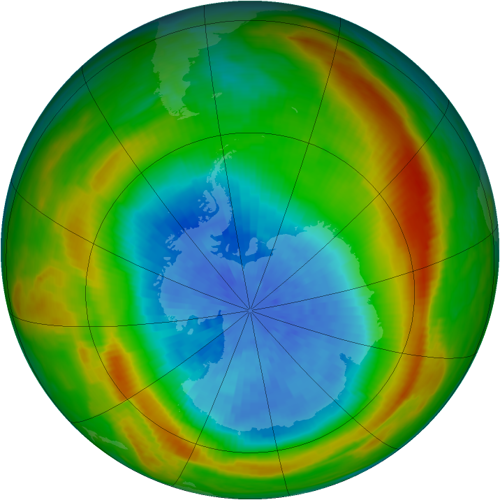 Antarctic ozone map for 26 September 1980