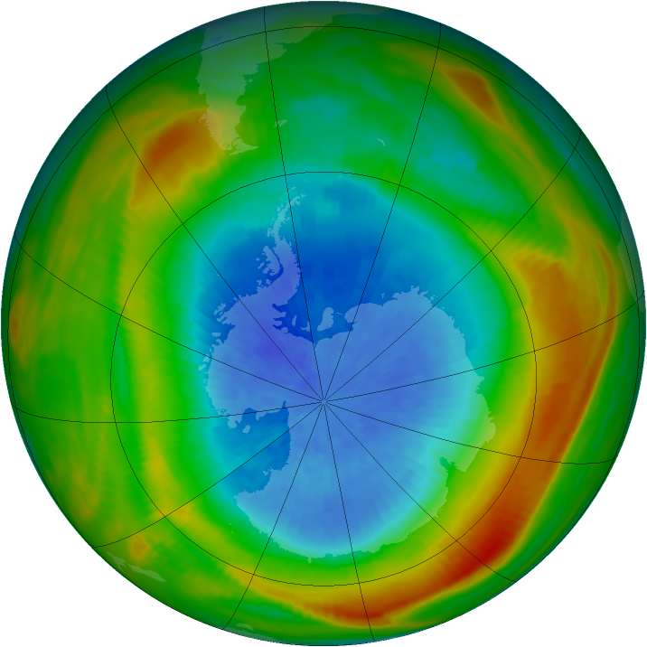 Antarctic ozone map for 28 September 1980