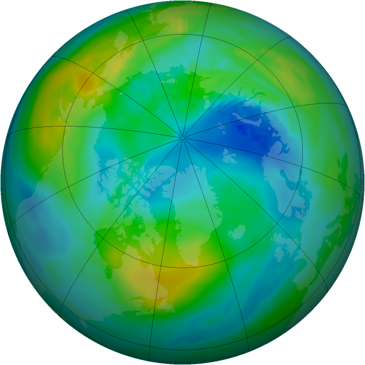 Arctic ozone map for 29 September 1980