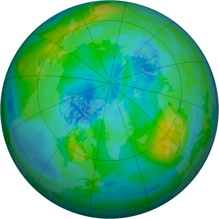 Arctic ozone map for 08 October 1980