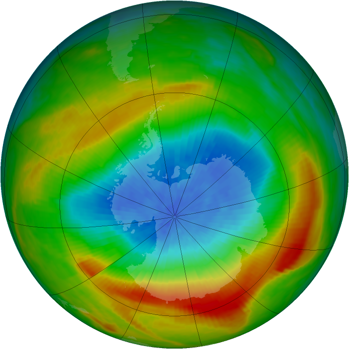 Antarctic ozone map for 08 October 1980