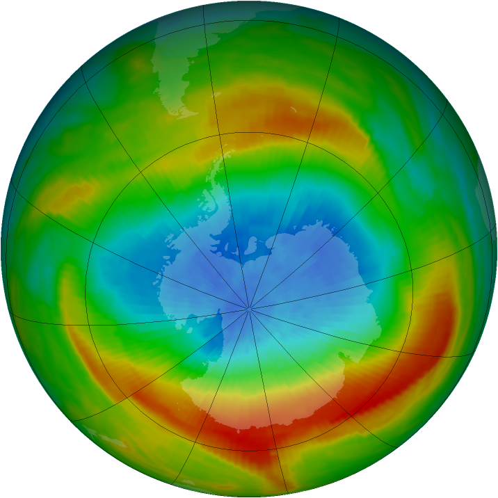 Antarctic ozone map for 09 October 1980