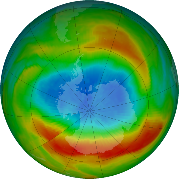 Antarctic ozone map for 10 October 1980