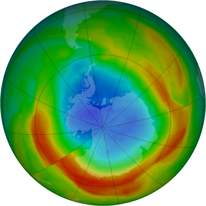 Antarctic ozone map for 13 October 1980