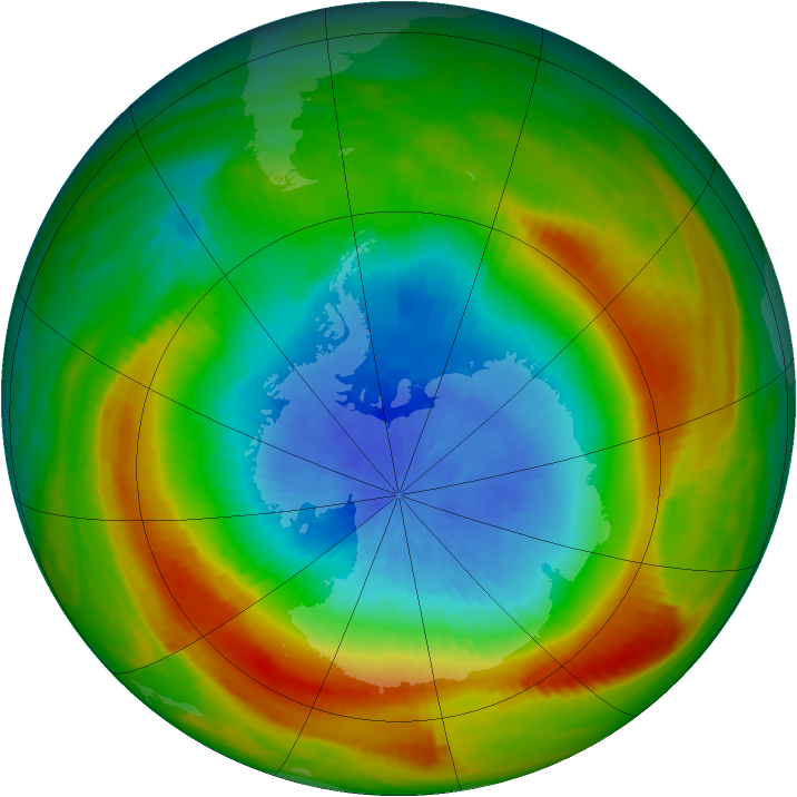 Antarctic ozone map for 14 October 1980