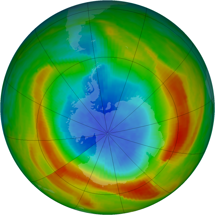 Antarctic ozone map for 15 October 1980