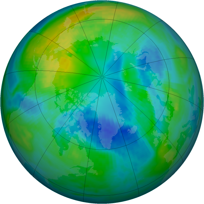 Arctic ozone map for 16 October 1980