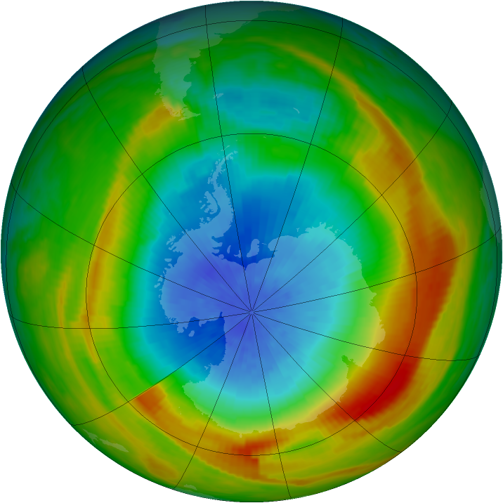 Antarctic ozone map for 16 October 1980