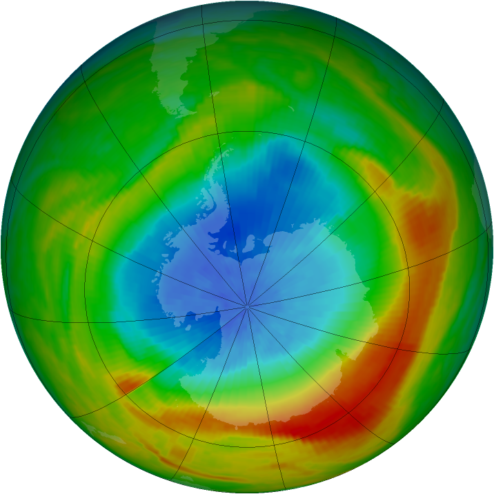 Antarctic ozone map for 17 October 1980