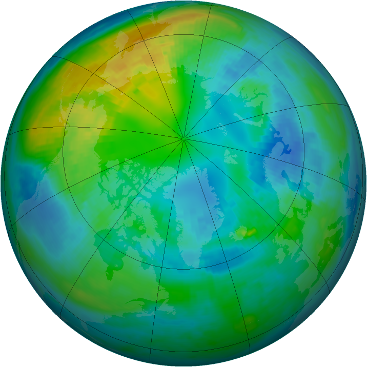 Arctic ozone map for 19 October 1980