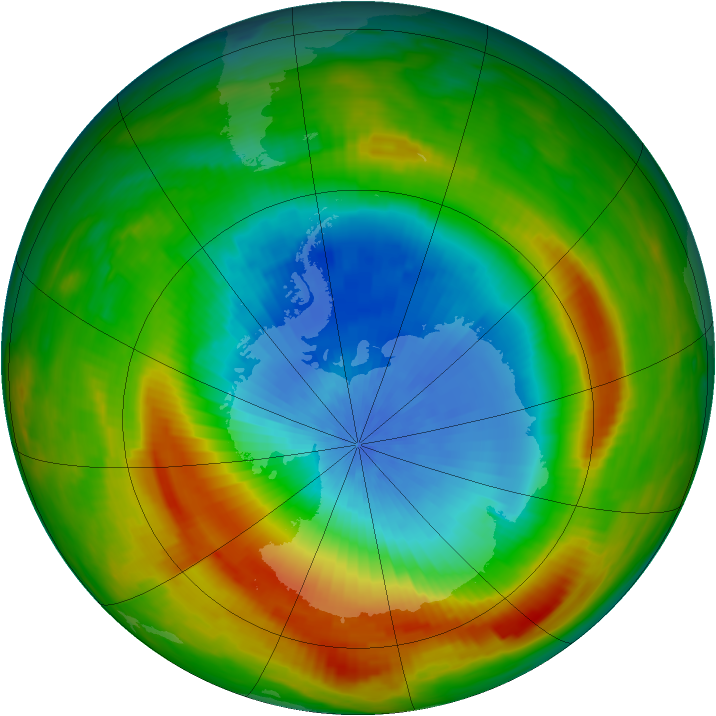 Antarctic ozone map for 22 October 1980