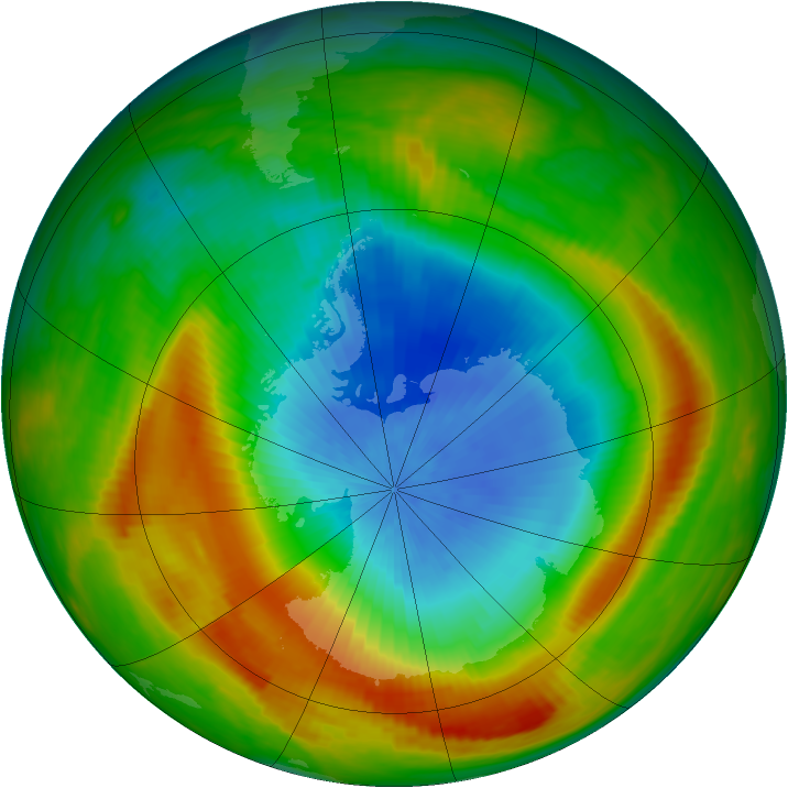 Antarctic ozone map for 23 October 1980