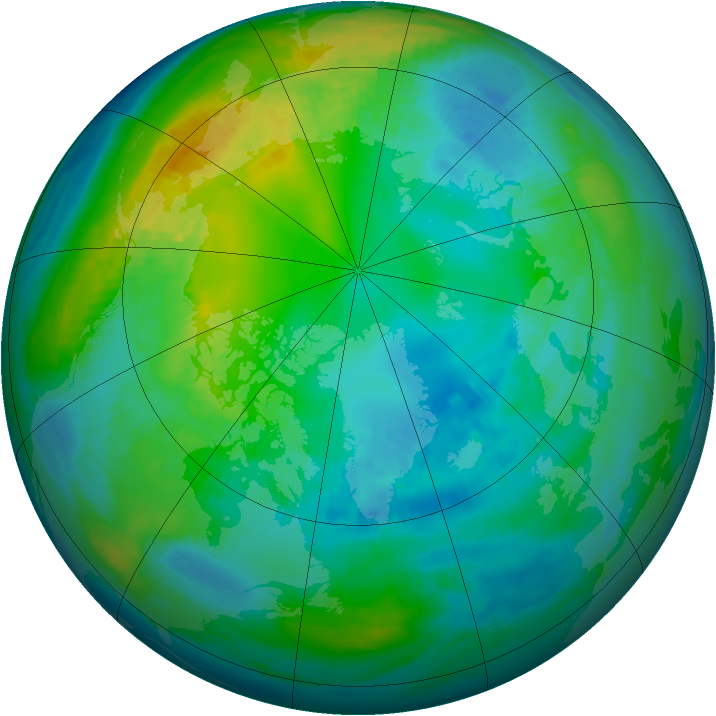 Arctic ozone map for 24 October 1980