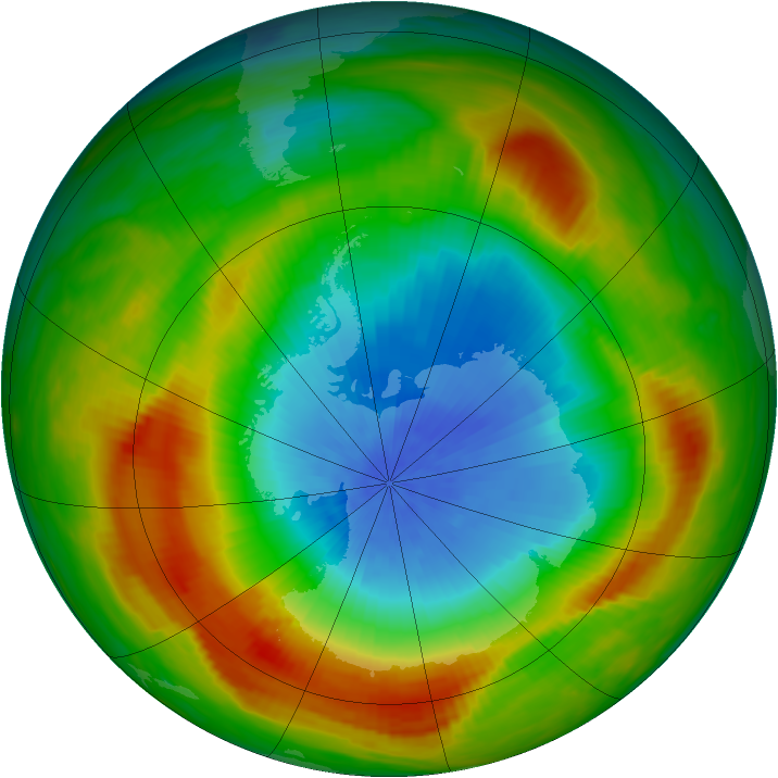Antarctic ozone map for 25 October 1980
