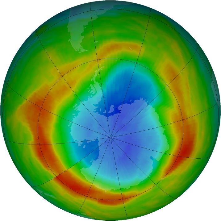 Antarctic ozone map for 27 October 1980