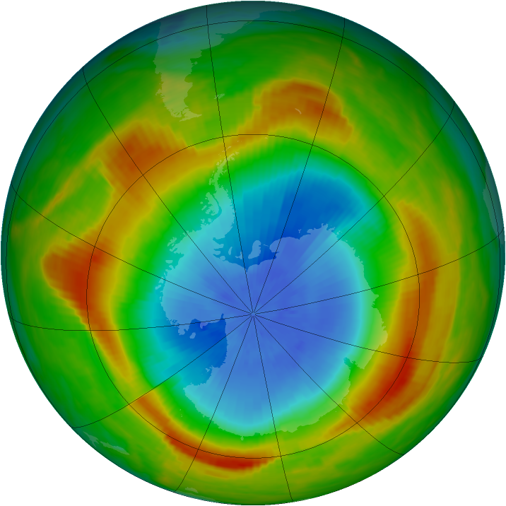 Antarctic ozone map for 28 October 1980