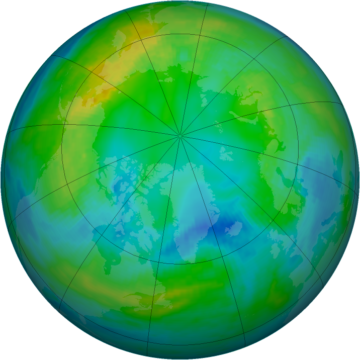 Arctic ozone map for 29 October 1980