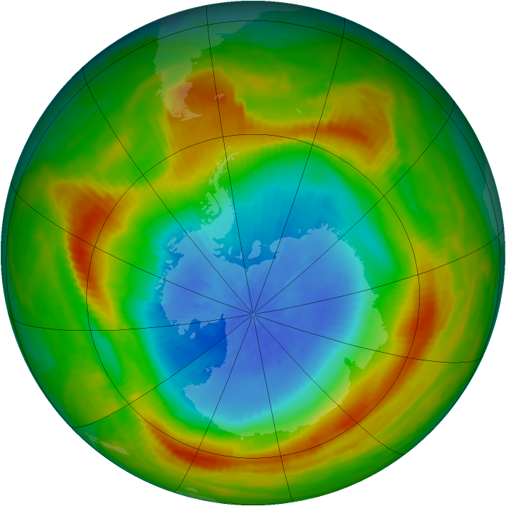 Antarctic ozone map for 29 October 1980