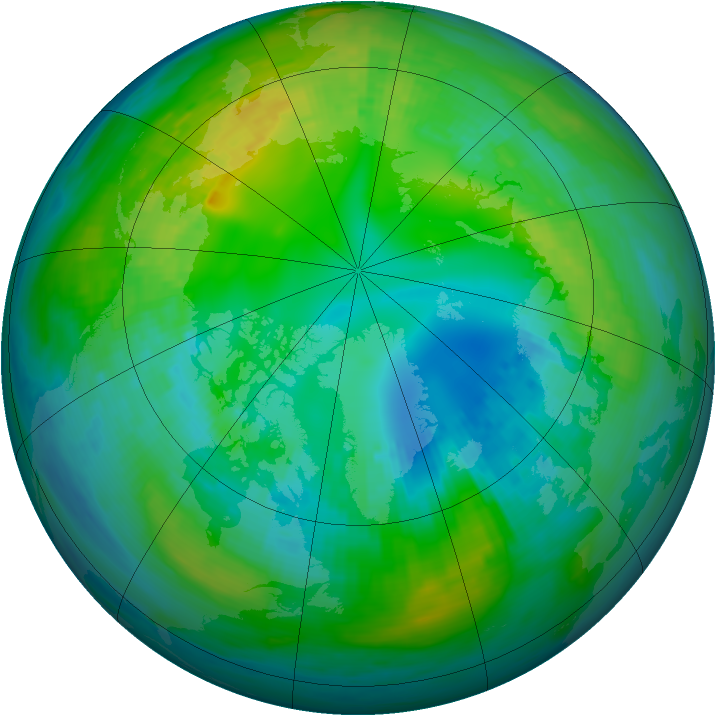 Arctic ozone map for 31 October 1980