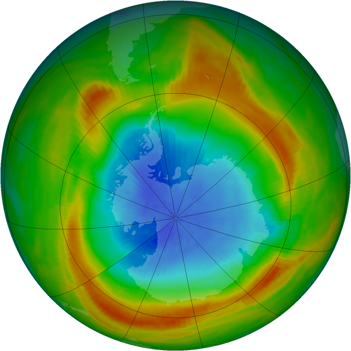 Antarctic ozone map for 31 October 1980
