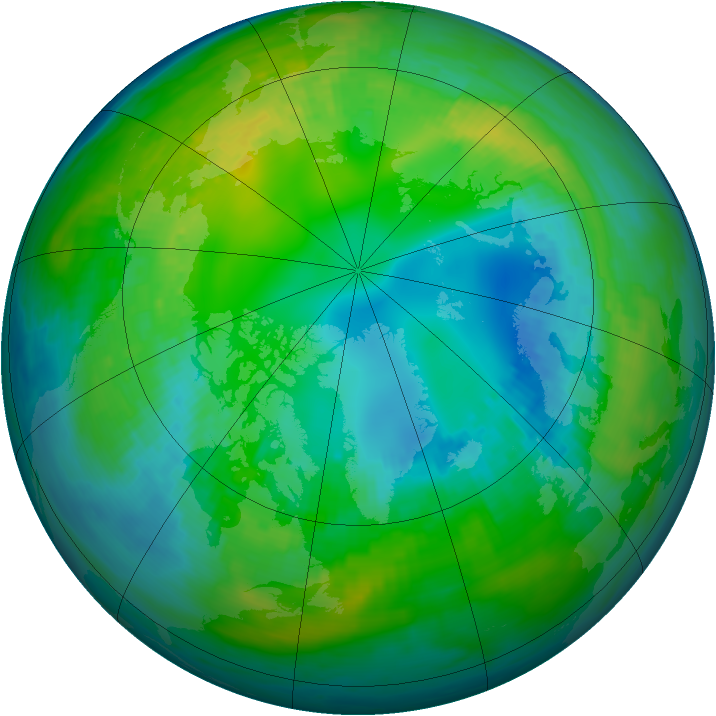 Arctic ozone map for 02 November 1980