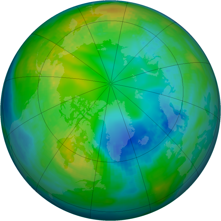 Arctic ozone map for 07 November 1980