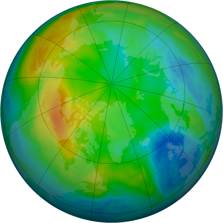 Arctic ozone map for 19 November 1980
