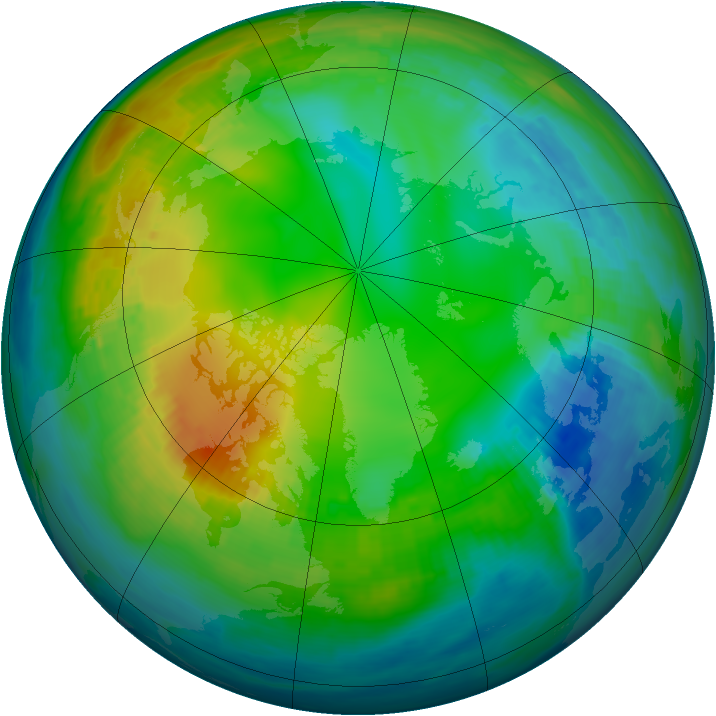 Arctic ozone map for 20 November 1980