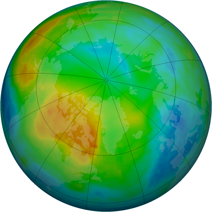 Arctic ozone map for 22 November 1980