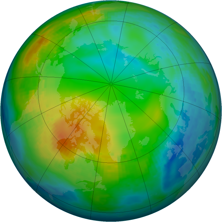 Arctic ozone map for 23 November 1980