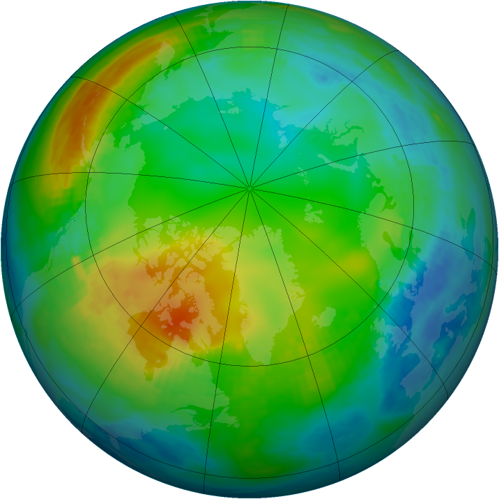 Arctic ozone map for 24 November 1980