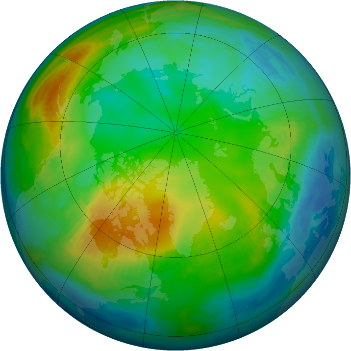 Arctic ozone map for 25 November 1980
