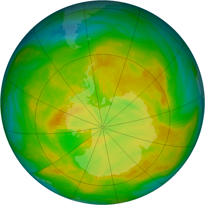 Antarctic ozone map for 29 November 1980