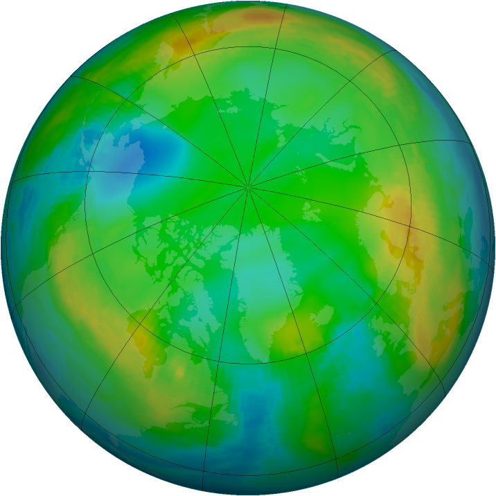 Arctic ozone map for 30 November 1980