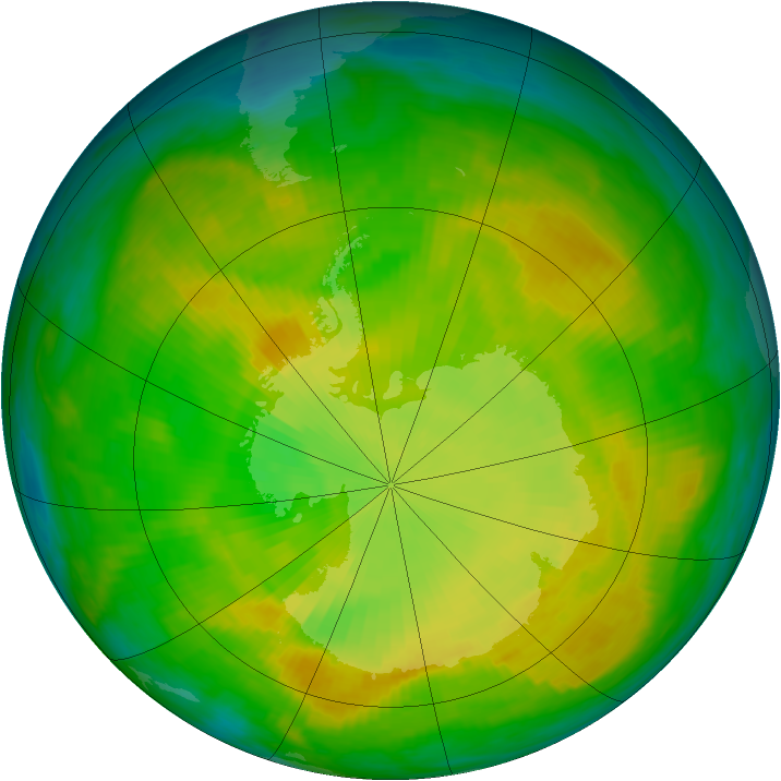 Antarctic ozone map for 03 December 1980
