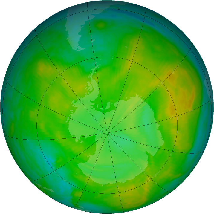 Antarctic ozone map for 23 December 1980