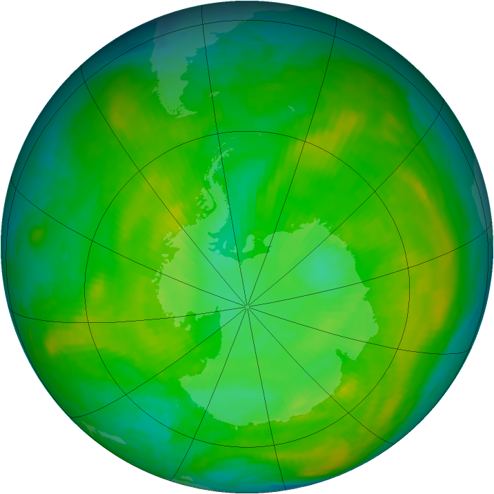 Antarctic ozone map for 29 December 1980