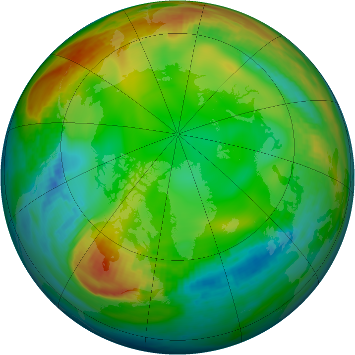 Arctic ozone map for 03 January 1981