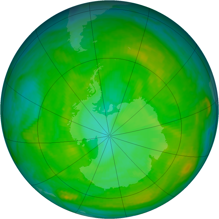 Antarctic ozone map for 04 January 1981