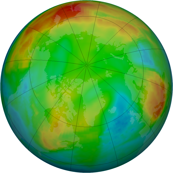 Arctic ozone map for 07 January 1981
