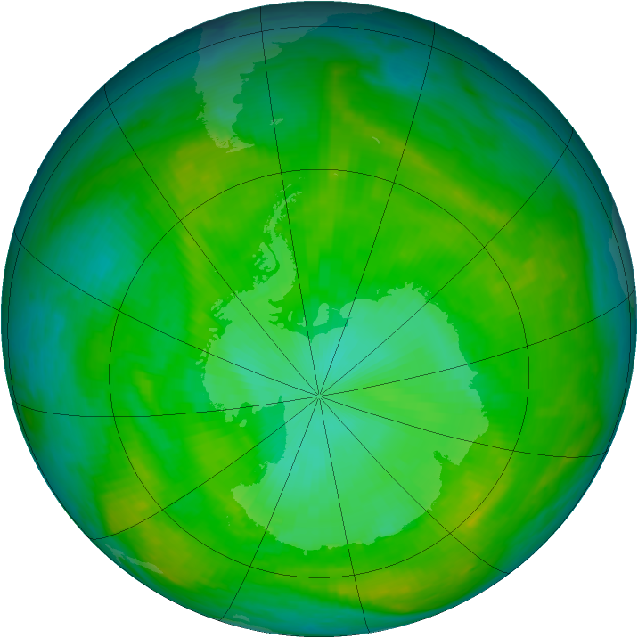 Antarctic ozone map for 07 January 1981