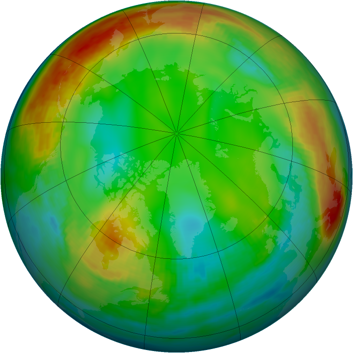 Arctic ozone map for 09 January 1981