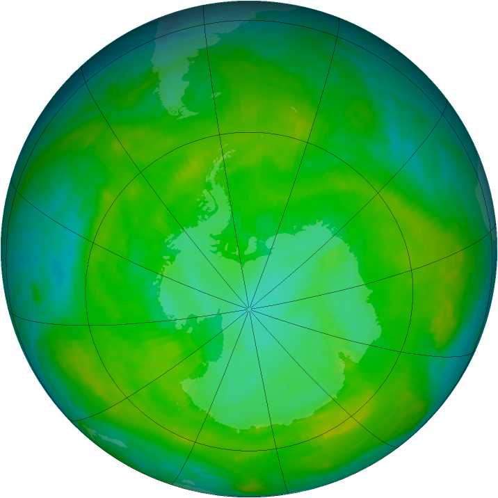 Antarctic ozone map for 09 January 1981